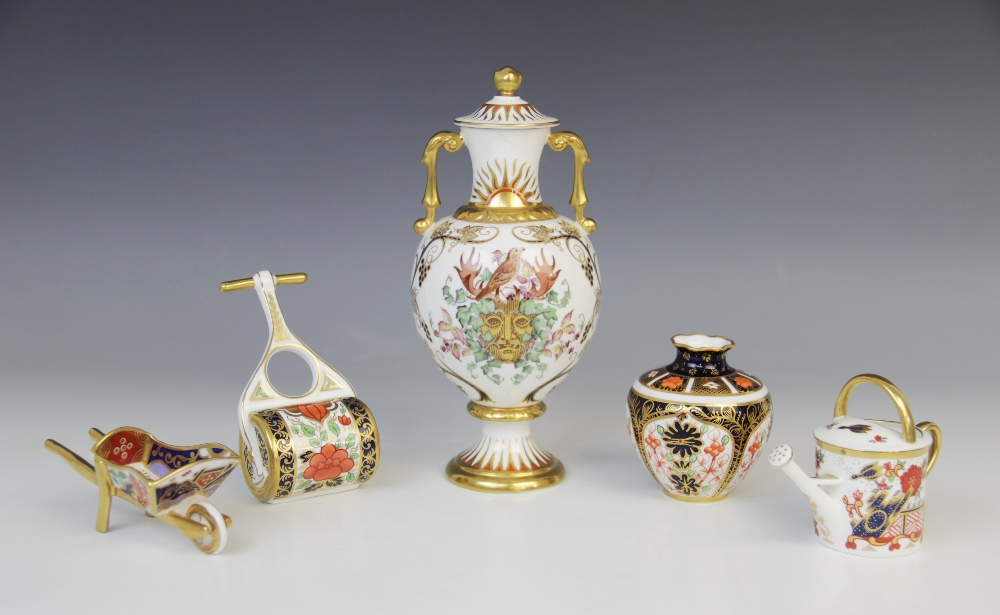 A Royal Crown Derby porcelain twin-handled vase and cover, 20th century, of inverted baluster form