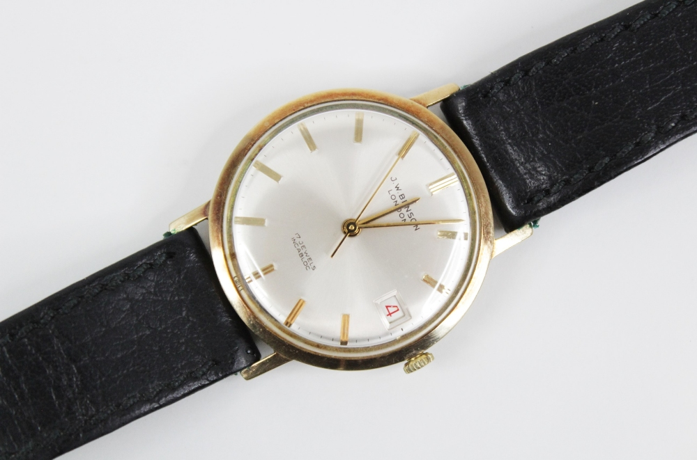 A Gentleman's 1976 9ct gold J.W Benson 17 jewels incabloc wristwatch, the cream circular dial with