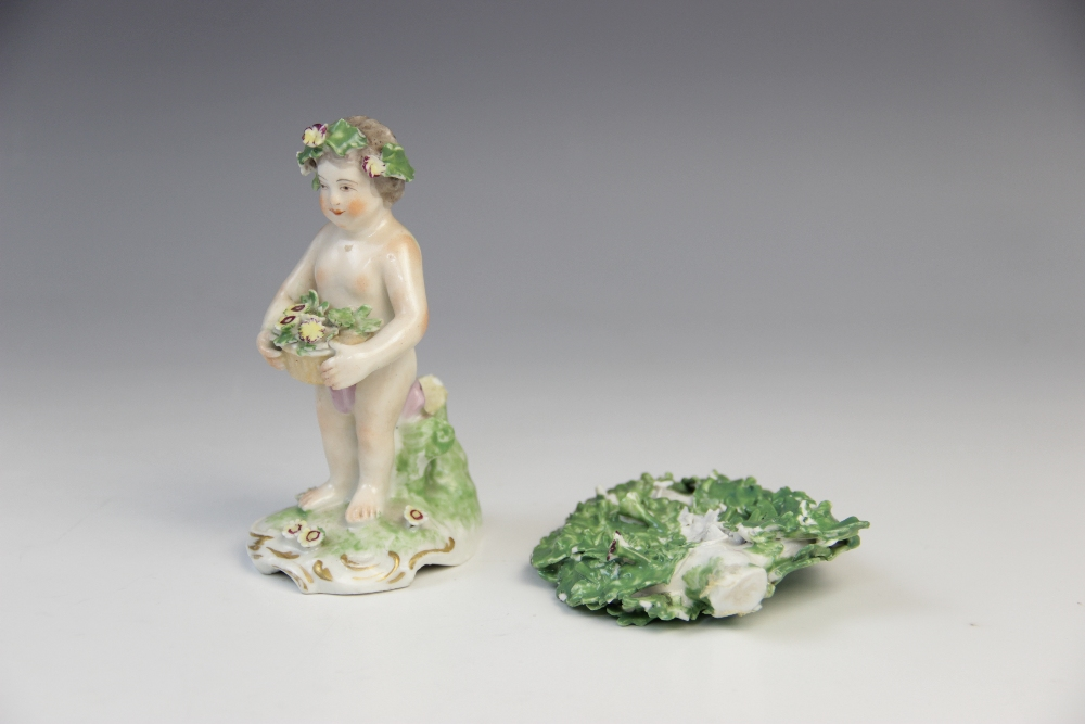 Three Derby bocage figures, late 18th century, each modelled as a putti holding a flower basket on a - Image 2 of 13