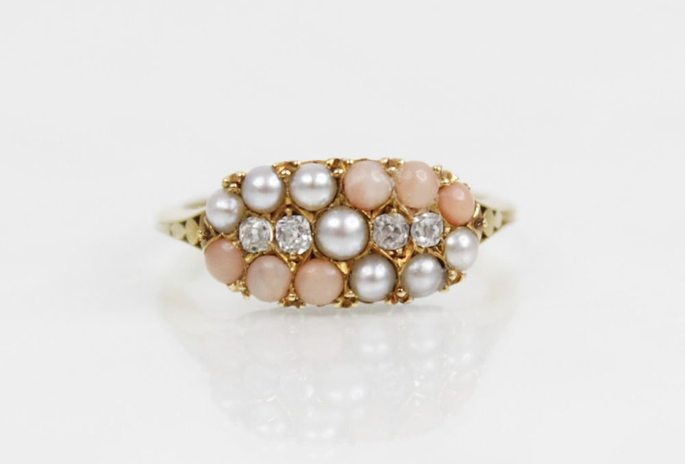A Victorian diamond, pearl and coral ring, the navette shaped head comprising four old cut - Image 2 of 6