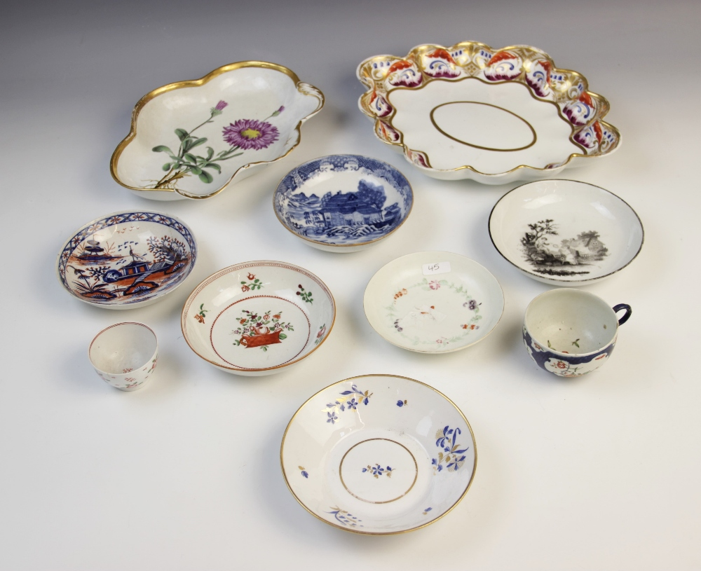 A selection of English porcelain, 18th century and later, comprising: a first period Worcester