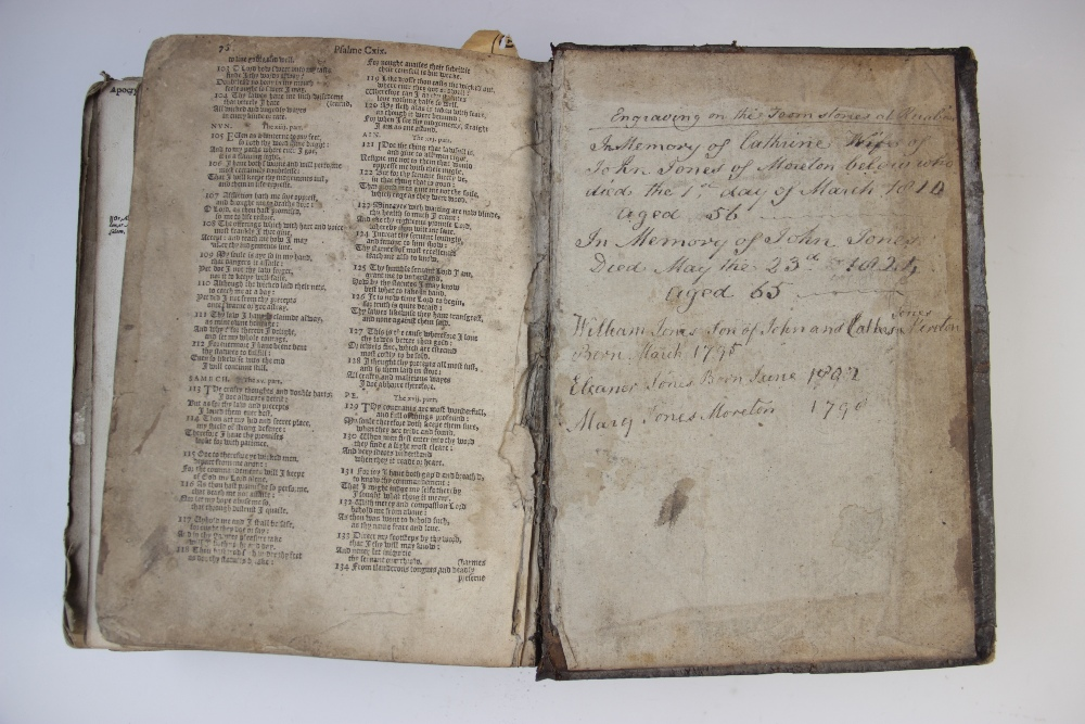 A 'breeches' Bible, early 17th century, full leather, the Old Testament lacking title page, the - Image 6 of 7