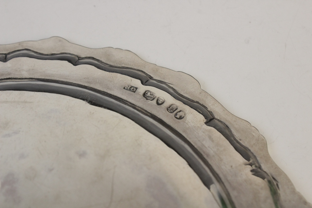A Victorian silver card tray by George John Richards, London 1848, of circular form with cast rim - Image 4 of 5