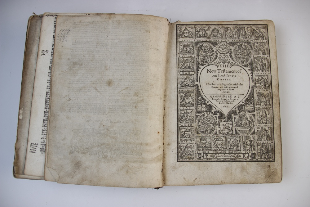 A 'breeches' Bible, early 17th century, full leather, the Old Testament lacking title page, the - Image 5 of 7