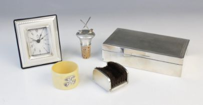A silver mounted cigar box by S J Rose & Son, London 1959, of rectangular form with engine turned