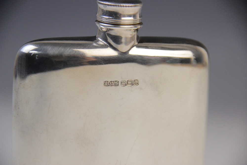 A silver hip flask by James Dixon & Sons, Birmingham 1969, of rounded rectangular form with screw - Image 3 of 5