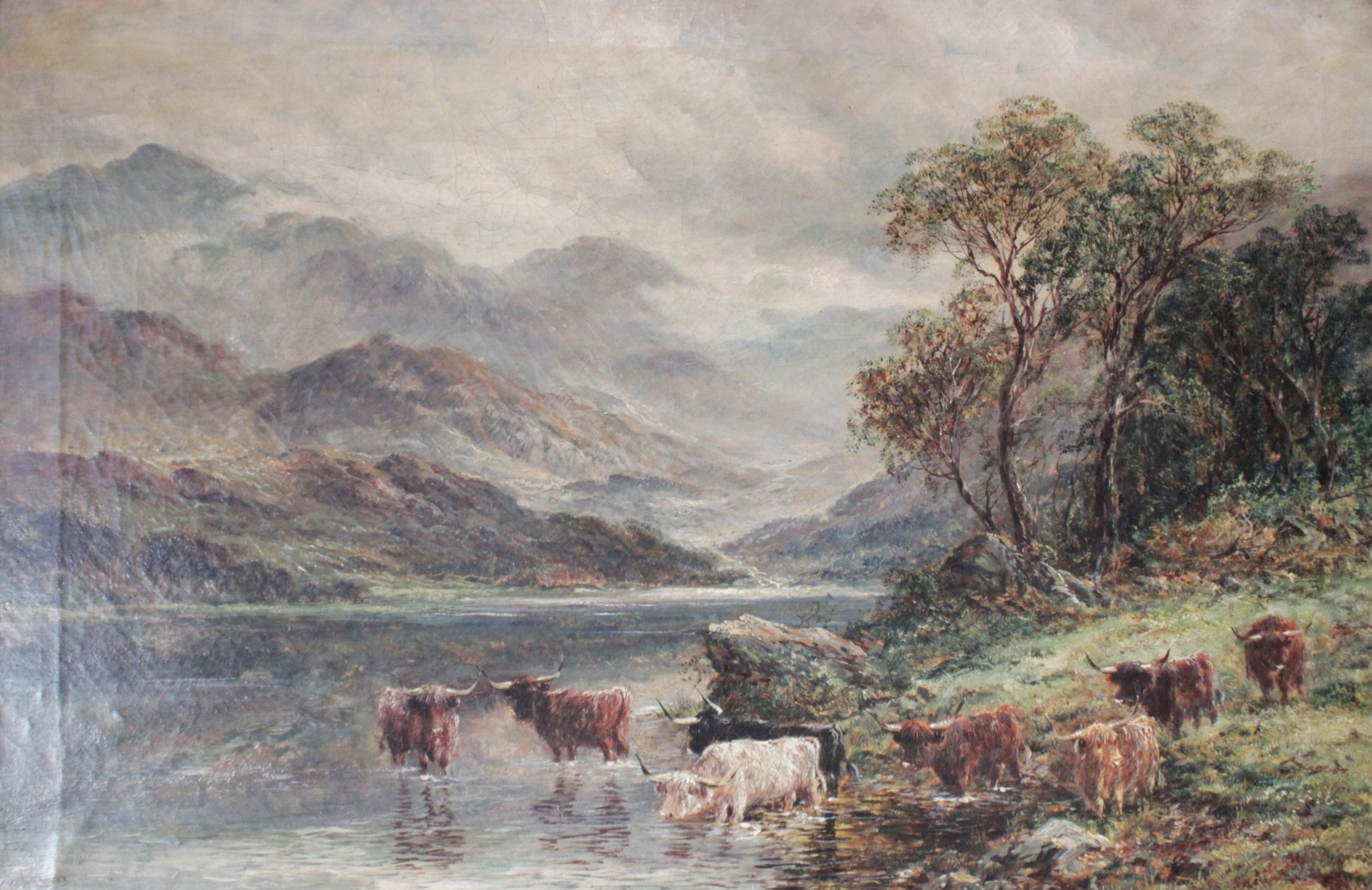 J. Lewis (English school, 19th century), Two mountainous landscapes with highland cattle, Oil on