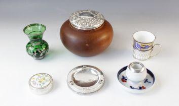 An Arts & Crafts silver mounted pin dish, Albert Edward Jones, Birmingham 1913, of circular form