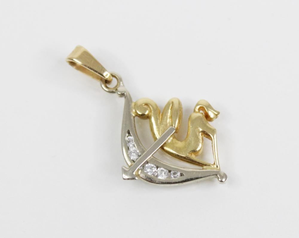 A Sagittarius gemstone set pendant, modelled as a centaur holding a bow and arrow, set with a