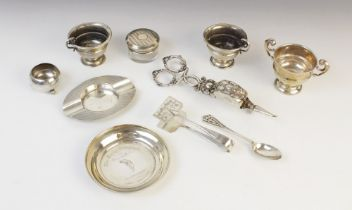 A selection of silver and silver coloured ware, to include; a George V silver miniature twin-handled