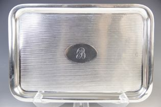 A George V silver card tray, Colen Hewer Cheshire, Chester 1913, of rounded rectangular form with