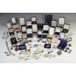 A selection of vintage and modern costume jewellery, of assorted metals, materials and styles,