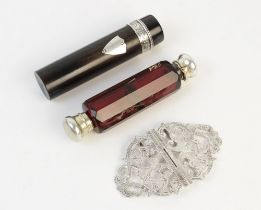 A Victorian ruby glass double-ended scent bottle, 10.6cm long, together with a silver nurses belt