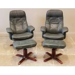 A pair of Ekornes stressless type reclining green leather armchairs and matching foot stools, each