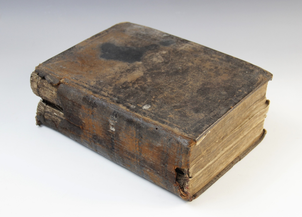 A 'breeches' Bible, early 17th century, full leather, the Old Testament lacking title page, the