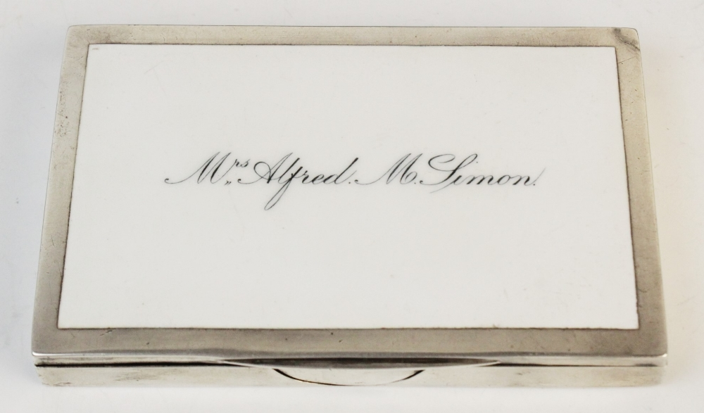 A Victorian silver and enamelled card case by William Neale, Birmingham 1894, of rectangular form - Image 2 of 2
