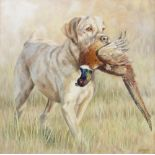 Sarah Clegg (British Contemporary), 'The Retrieve I (Pheasant)', Oil on canvas, Signed lower