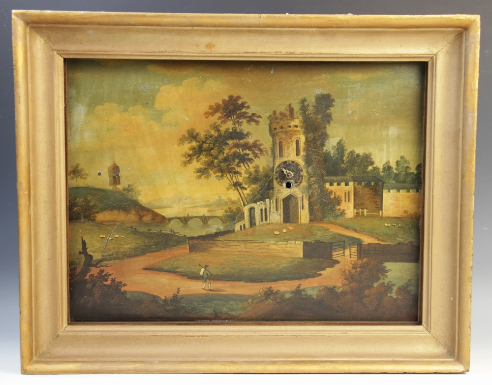 A 19th century continental clock painting, Oil on tin, Depicting a figure on a pathway leading to - Image 2 of 7