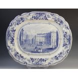 A blue and white transfer-printed Liverpool Herculaneum meat plate of large proportions, early