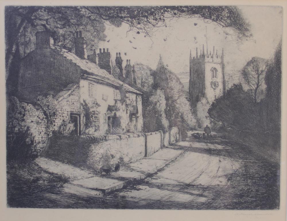 Arthur Henry Knighton Hammond (1875-1970), A farmer driving sheep down a village lane, Etching on