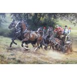 Judi Kent Pyrah (British contemporary), A carriage driving scene, Oil on board, Signed lower