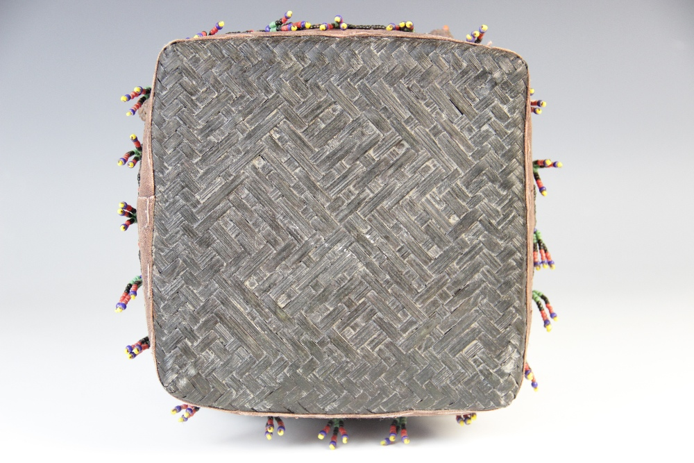 A Sumatran ceremonial wedding box, woven from split bamboo and traditionally decorated with beads, - Image 3 of 3