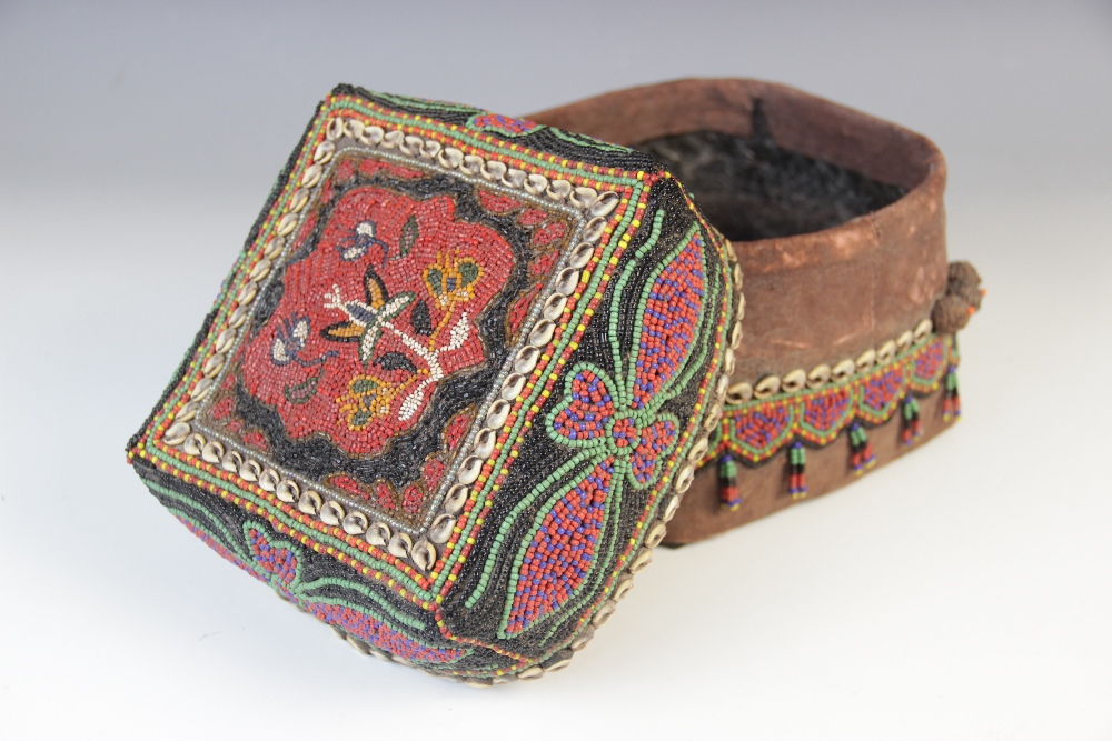 A Sumatran ceremonial wedding box, woven from split bamboo and traditionally decorated with beads, - Image 2 of 3