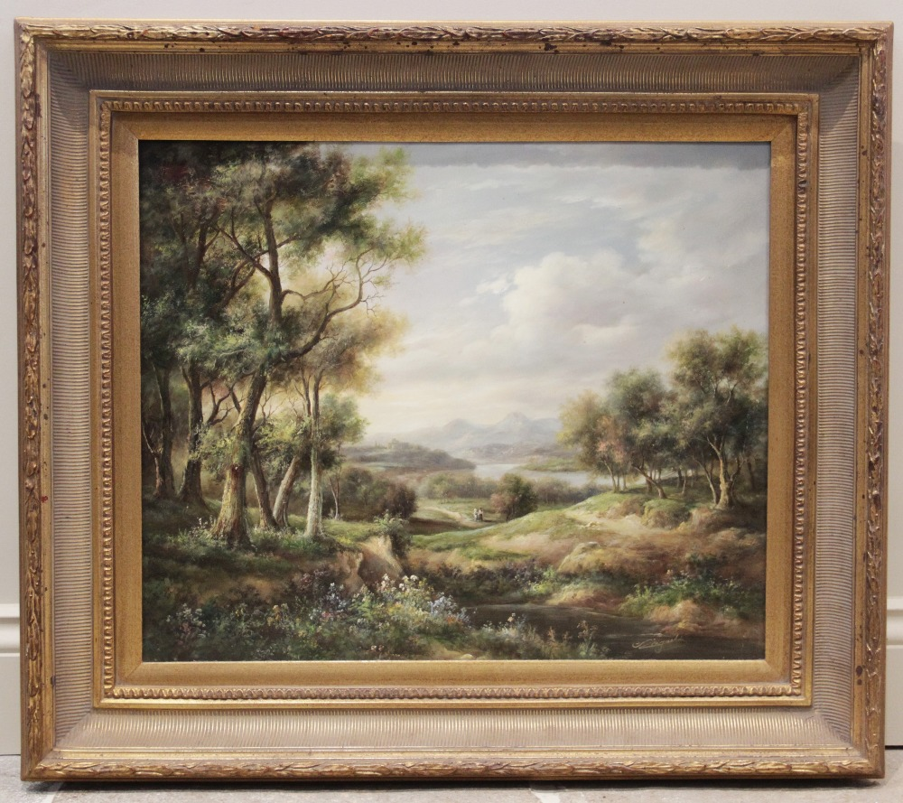 English School (late 19th century), Extensive landscape with figures on a path and mountains beyond, - Image 2 of 4