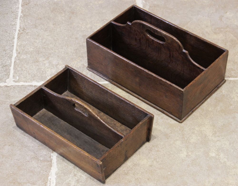 A George III oak twin compartment cutlery tray, of rectangular form, the raised central divider with