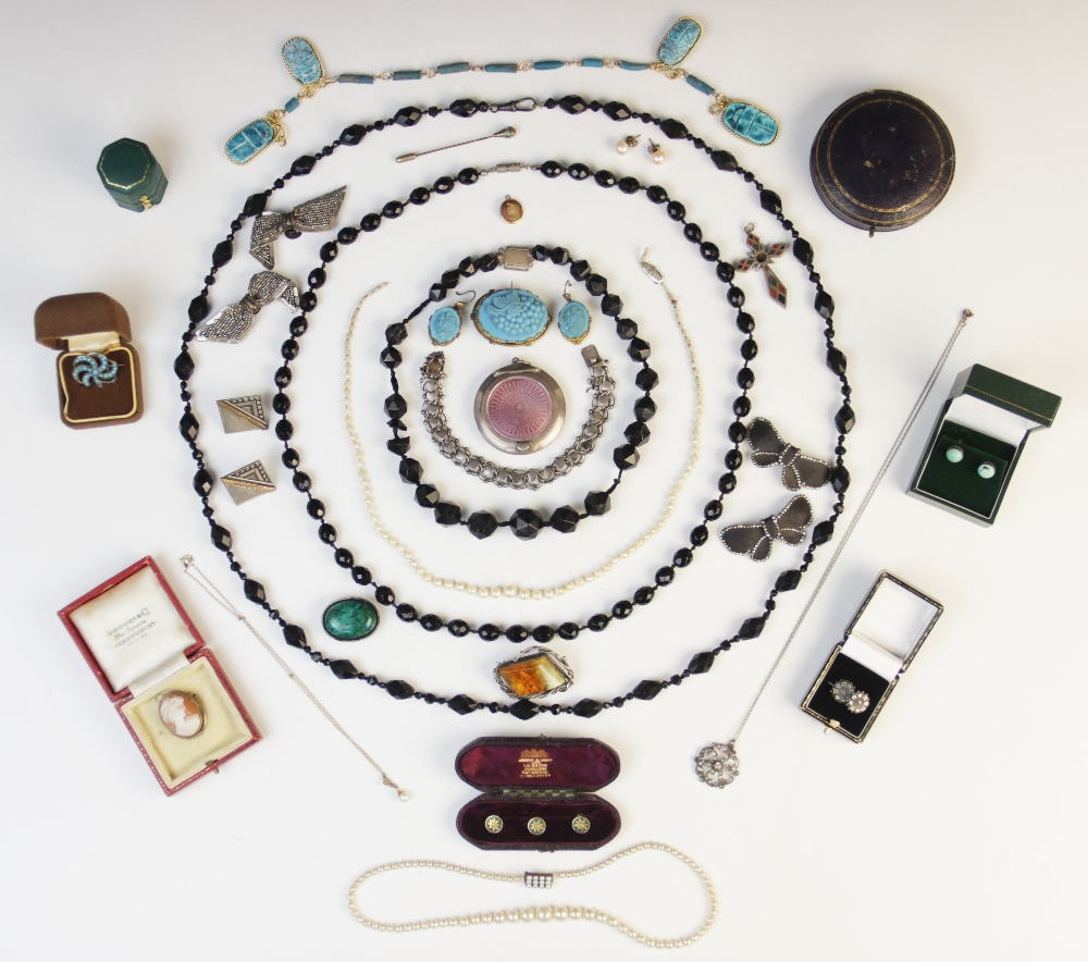 A selection of Victorian and later jewellery, accessories and jewellery boxes, to include a pearl