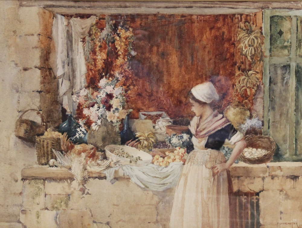 Percy Lancaster R.B.A. R.I. (British, 1878-1951), A girl at a market stall, Watercolour on paper,