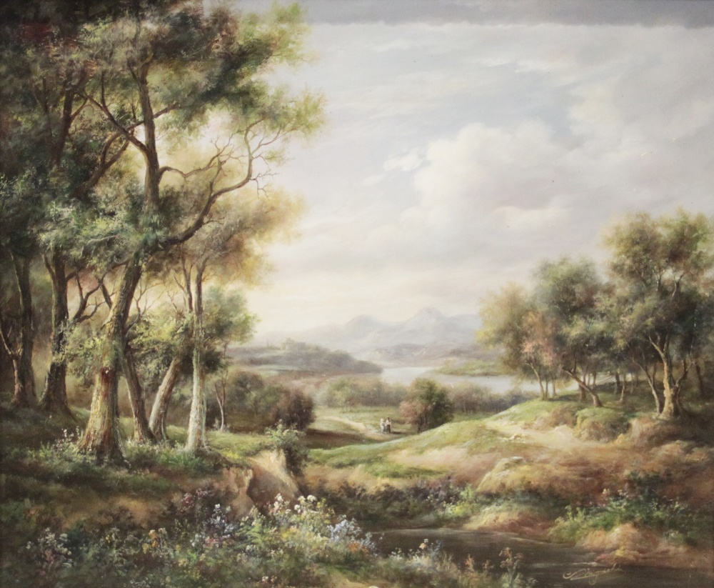 English School (late 19th century), Extensive landscape with figures on a path and mountains beyond,