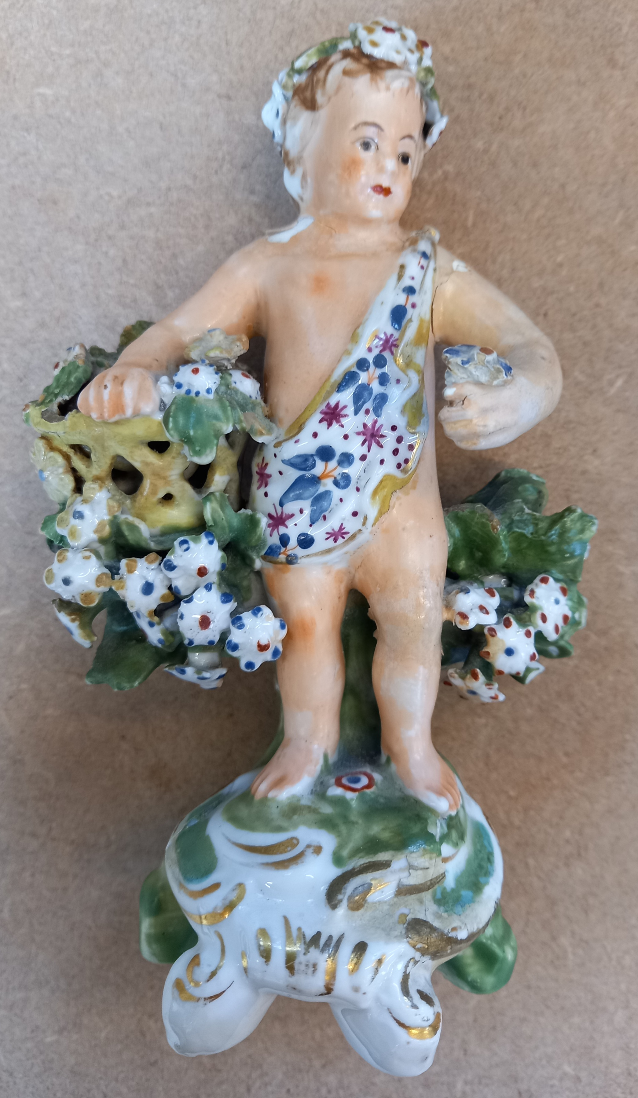 Three Derby bocage figures, late 18th century, each modelled as a putti holding a flower basket on a - Image 11 of 13