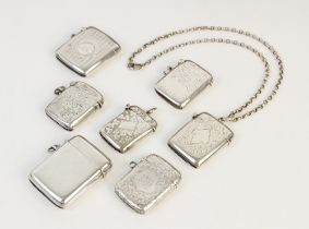 A selection of seven Victorian and later silver vesta cases, including one by J & R Griffin Ltd,