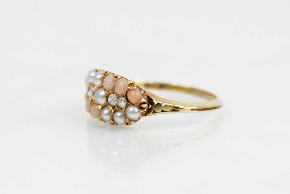 A Victorian diamond, pearl and coral ring, the navette shaped head comprising four old cut - Image 3 of 6