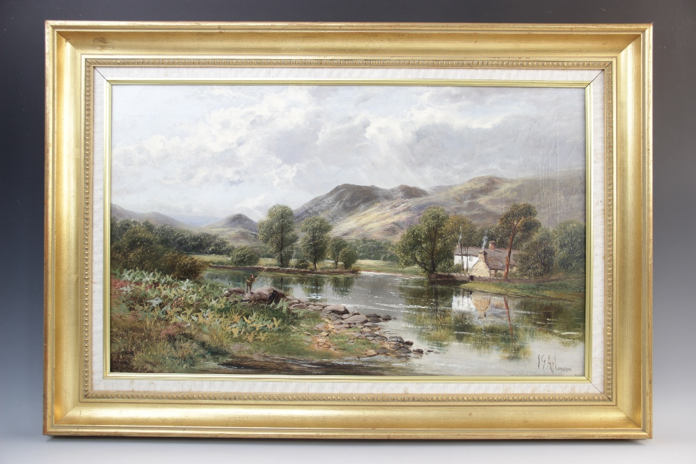 John Gunson Atkinson (active 1849-1885), A mountainous landscape with cottage and fly fisherman by a - Image 2 of 3
