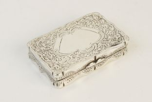 A Victorian silver snuff box by Joseph Gloster, Birmingham 1892, of rectangular form with shaped