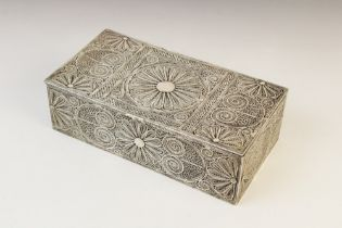An Indian white metal wirework casket, of rectangular form with hinged cover, decorated with