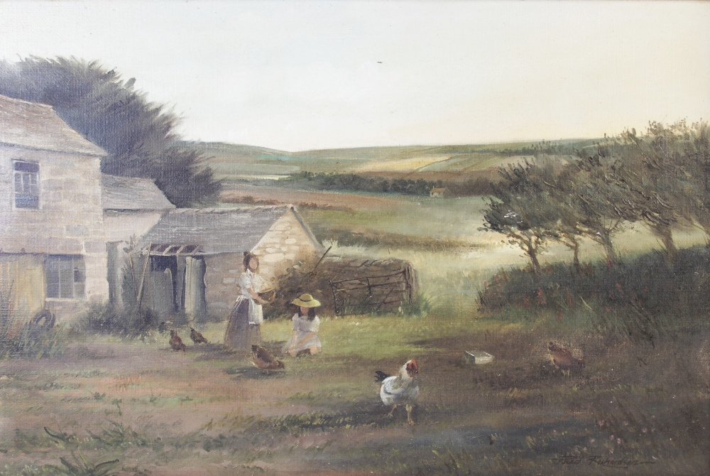 Paul Richardson (British, 20th century), A farmyard scene with figures and chickens, Oil on