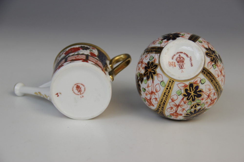 A Royal Crown Derby porcelain twin-handled vase and cover, 20th century, of inverted baluster form - Image 2 of 4