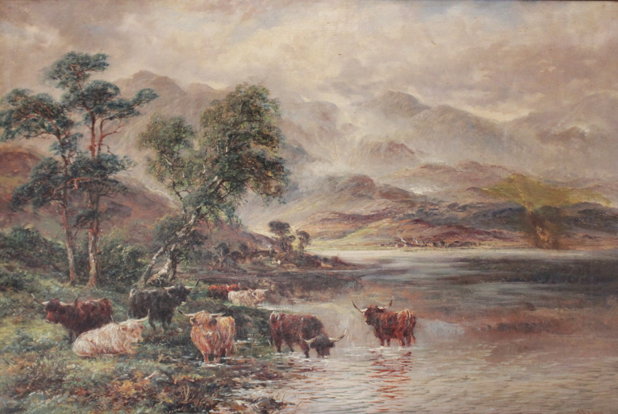 J. Lewis (English school, 19th century), Two mountainous landscapes with highland cattle, Oil on - Image 2 of 4