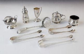 A three-piece silver cruet set, F G Richards, Birmingham 1957, comprising pepperette, wet mustard