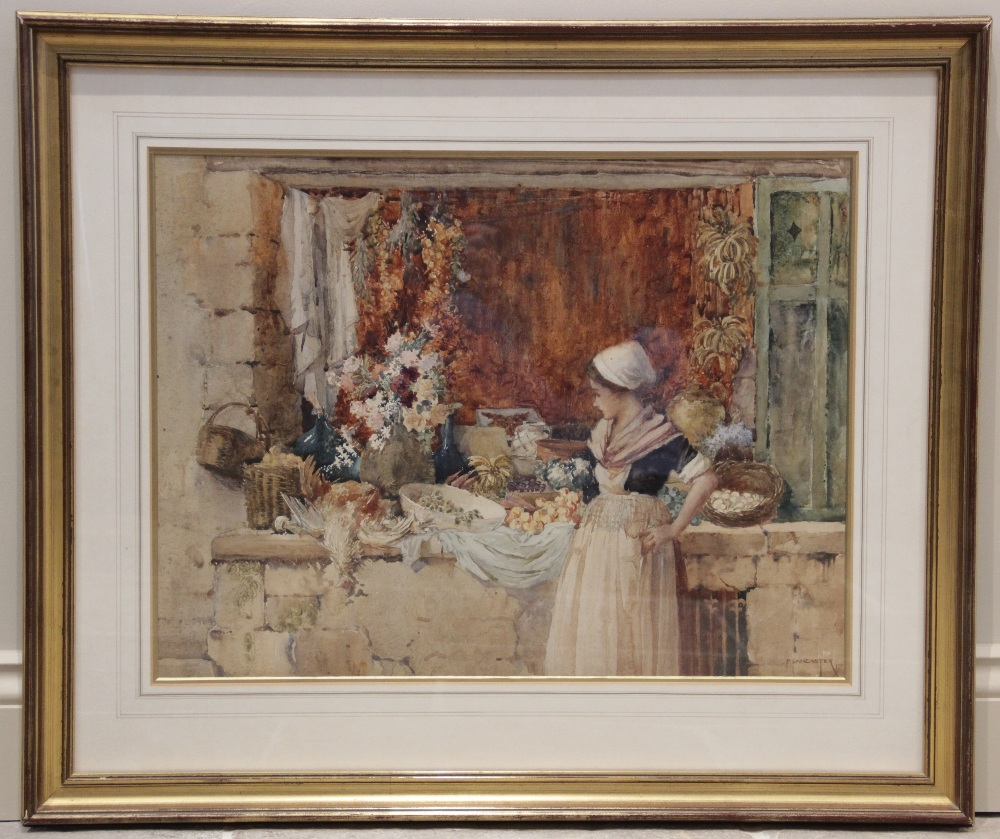 Percy Lancaster R.B.A. R.I. (British, 1878-1951), A girl at a market stall, Watercolour on paper, - Image 2 of 4
