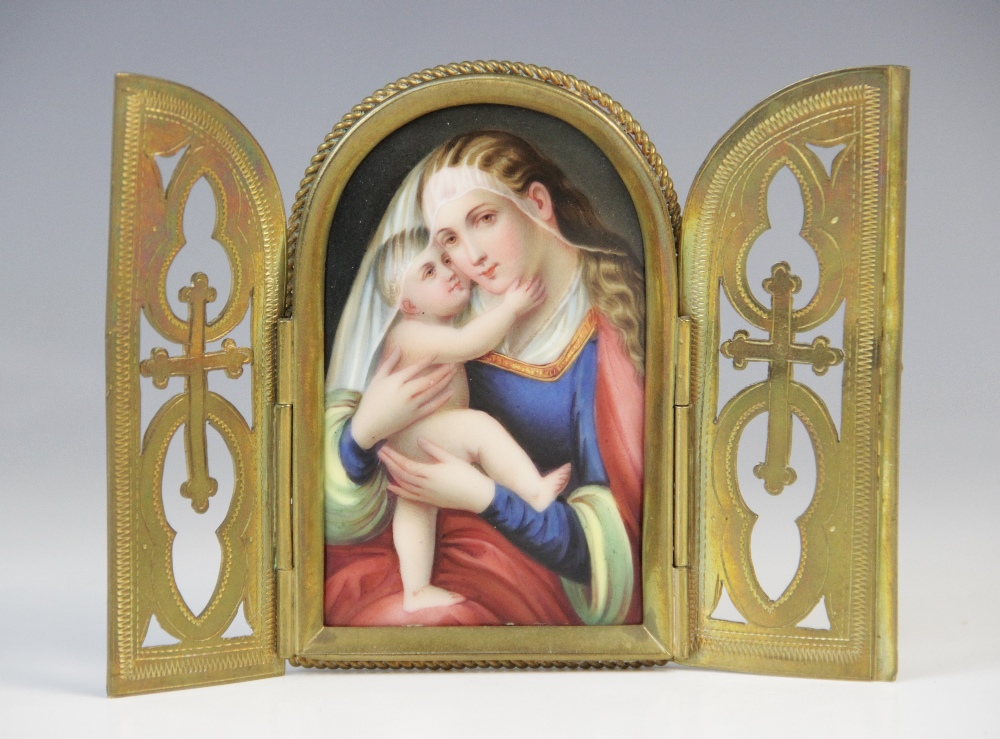 An Austrian miniature devotional icon on porcelain, 19th century, depicting the Virgin Mary