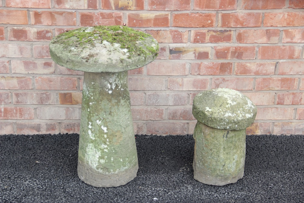 A 19th century sandstone staddle stone, of typical mushroom form, 70cm high, along with a second