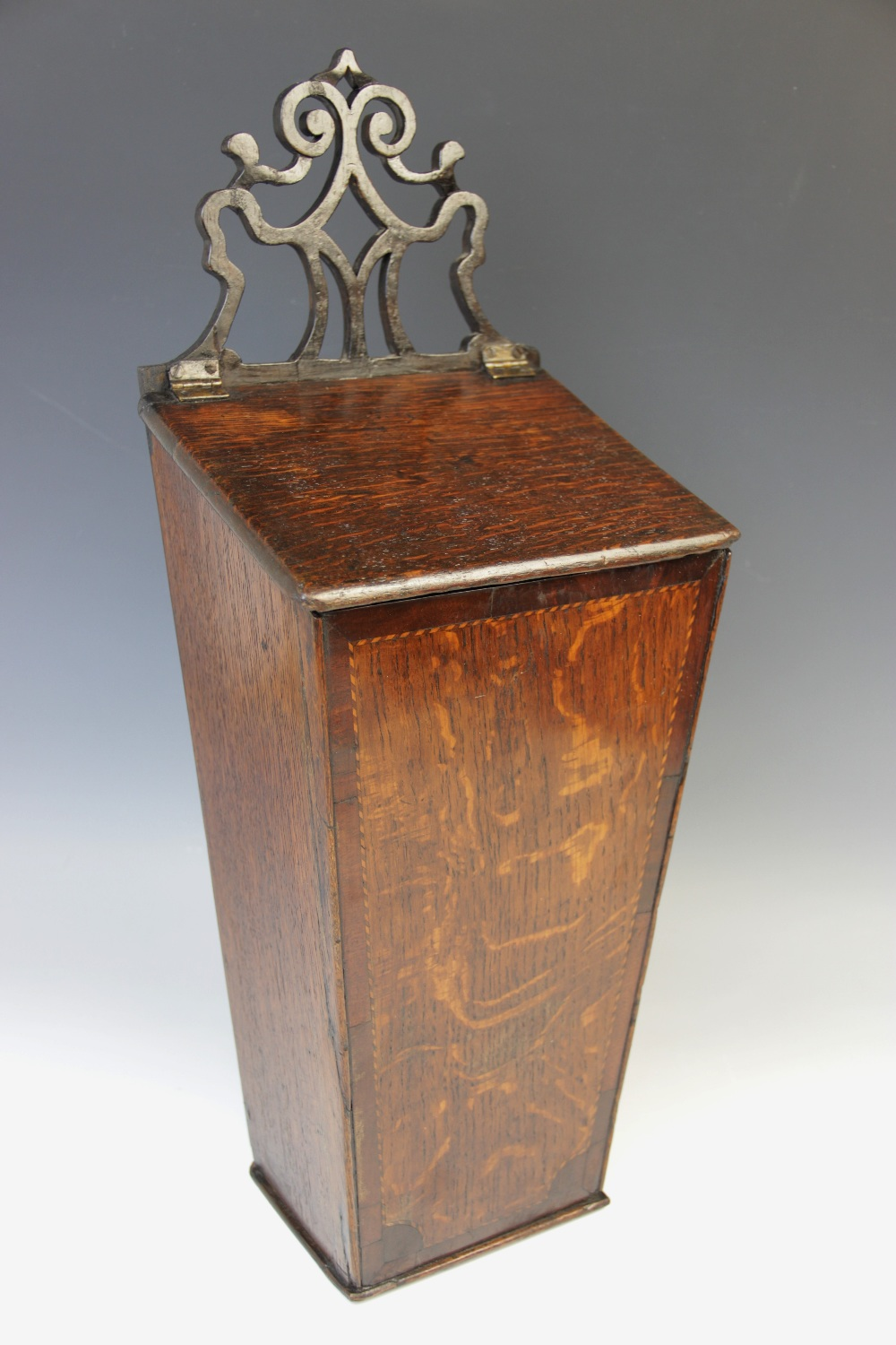 A George III oak and mahogany cross banded candle box, of typical tapering form, with associated - Image 2 of 2