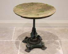19th century cast iron pedestal garden table, the circular hardwood top upon a tapering column,