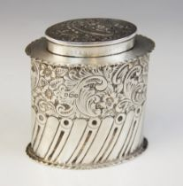 A George V silver tea caddy, William Hutton & Sons, Sheffield 1918, of oval form with waved borders,