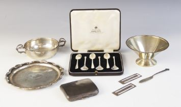 A selection of silver tableware, to include; a George VI silver wine taster, Emile Viner,