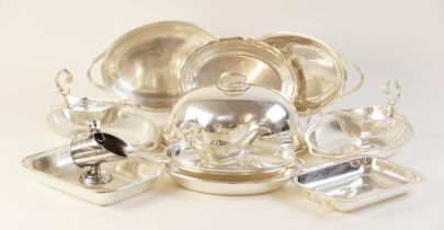A selection of silver plated and EPNS tabeware, to include: a pair of faceted sauce boats with